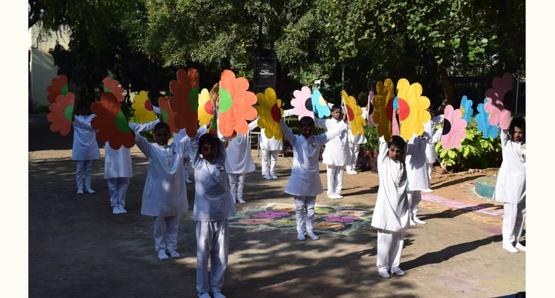 Colorful Flower Dance by the students