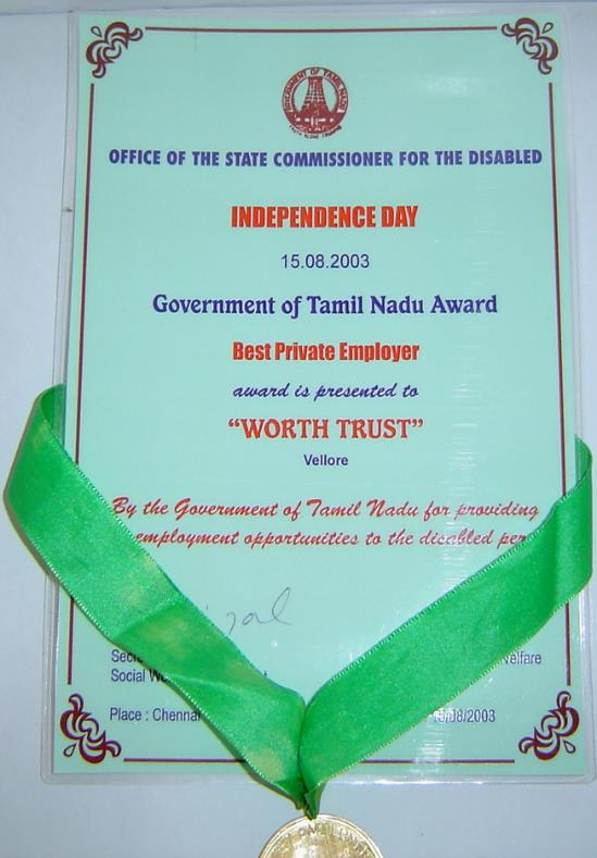 the Best Private Employer, providing more employment opportunities to the disabled persons – 15th August 2003